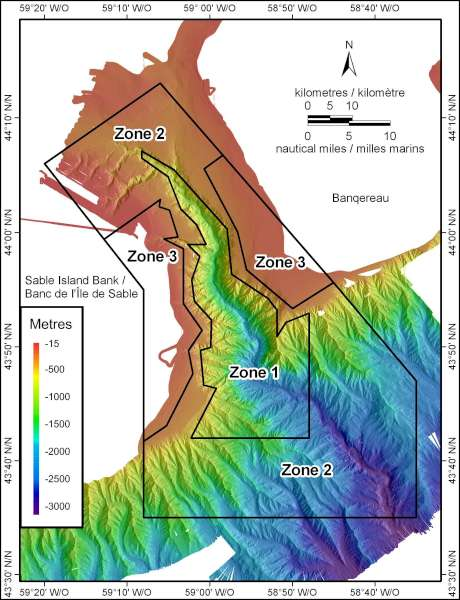 Coloured topography map shows the variation in depth within the Gully MPA. A full description of the MPA boundary and management zones is provided in the link below the map.